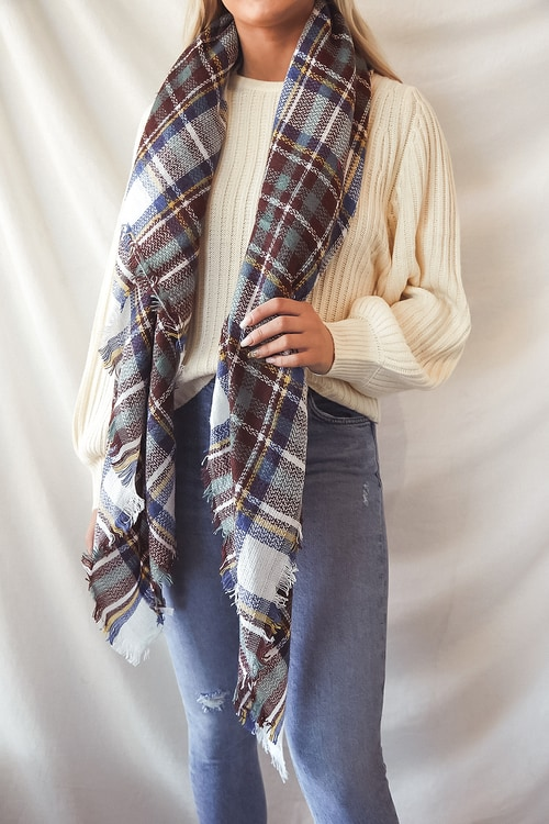 Cozy Night Out Ivory Multi Plaid Scarf