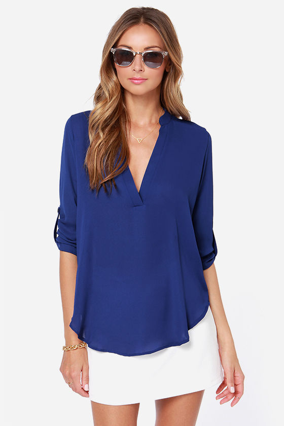 V-sionary Royal Blue Top at Lulus.com!