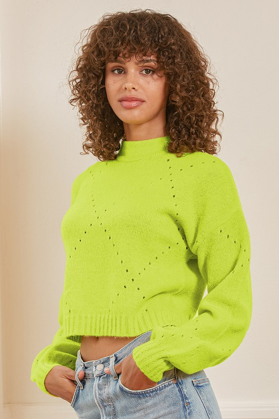 Lulus | Cool Points Lime Green Pointelle Cropped Sweater | Size Small