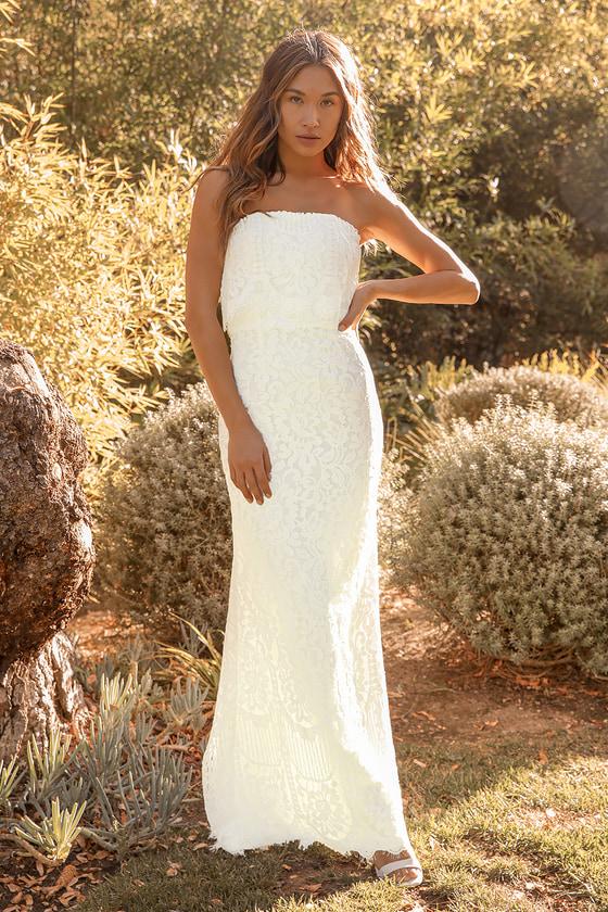 microwedding elopement lace white dress engagement photo dress lace