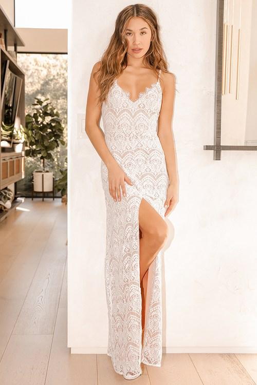 Like a Fairytale White Lace Maxi Dress