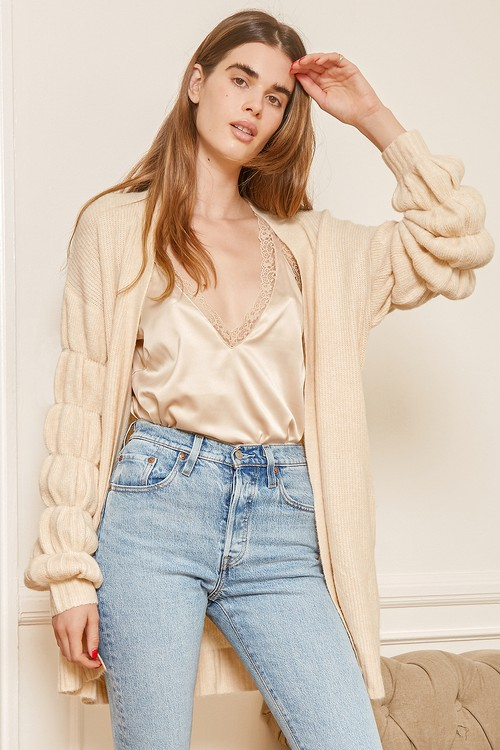 Always All Yours Cream Puff Sleeve Cardigan