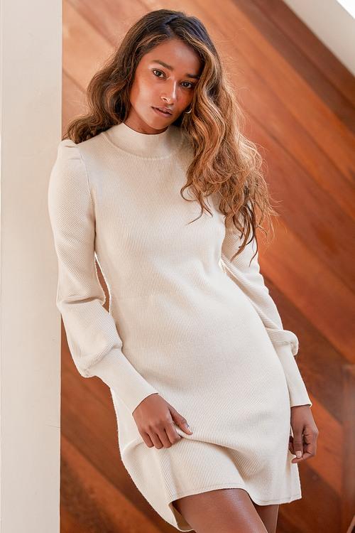 Joy and Wonder Cream Balloon Sleeve Mini Sweater Dress