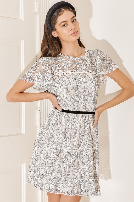 Looking for Romance White Lace Tiered Mini Skater Dress | Lulus