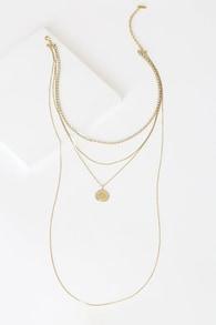 Hidden Treasure 14KT Gold Rhinestone Layered Necklace