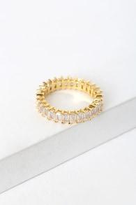 The Mini Emerald Ballier 14KT Gold Rhinestone Ring