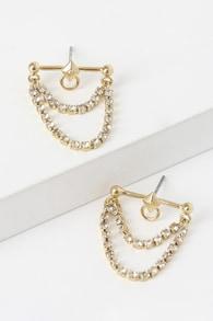Daring Dreams 14KT Gold Rhinestone Earrings