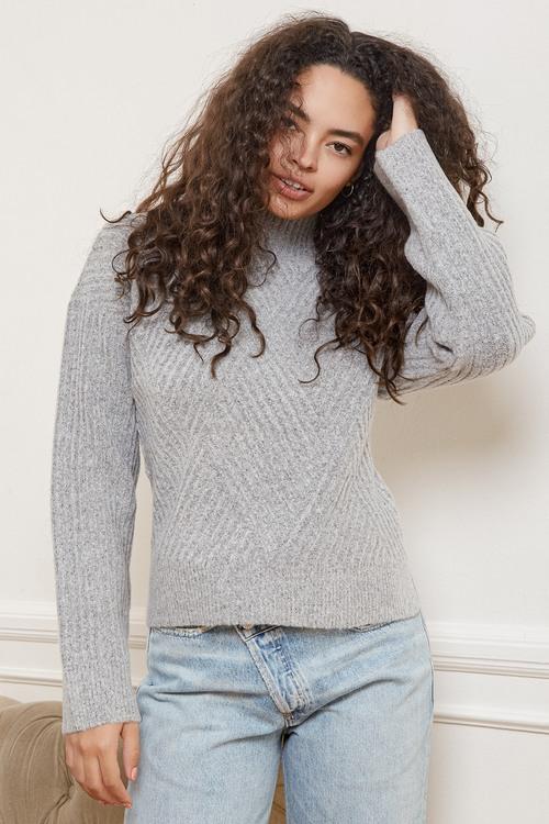 Meeting Friends Heather Grey Knit Mock Neck Sweater
