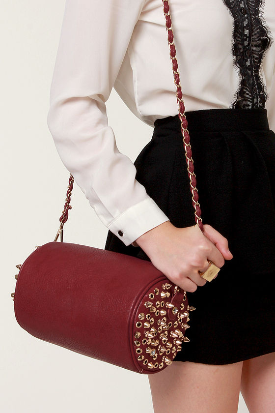 Barrel-y Breathing Studded Burgundy Handbag at Lulus.com!