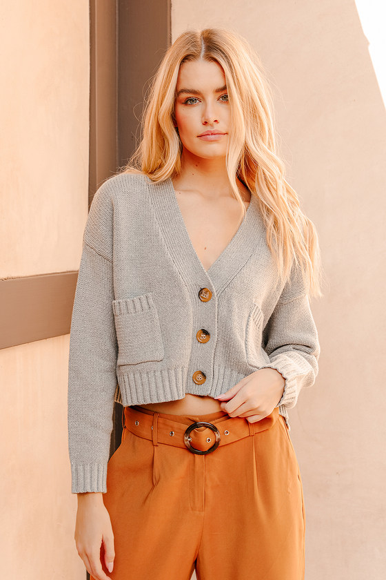 Easy Does It Grey Knit Cropped Cardigan Sweater | Lulus