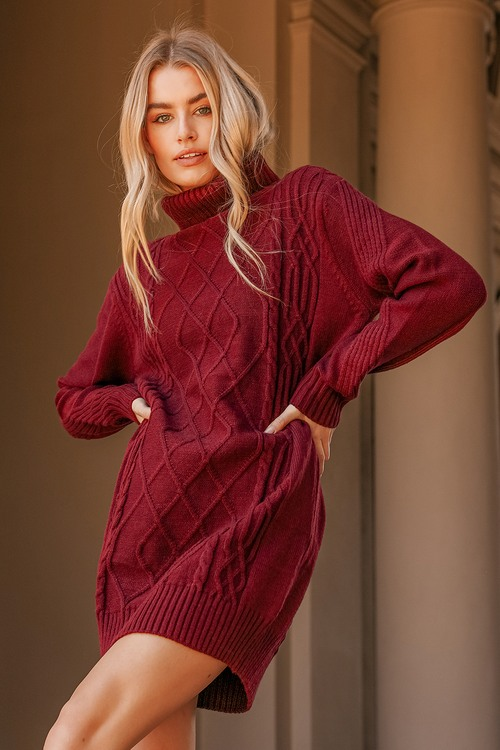 Cuddle Up Close Burgundy Cable Knit Turtleneck Sweater Dress