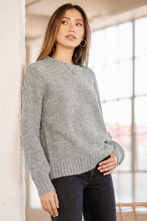 Positive Attitude Heather Grey Balloon Sleeve Knit Sweater
