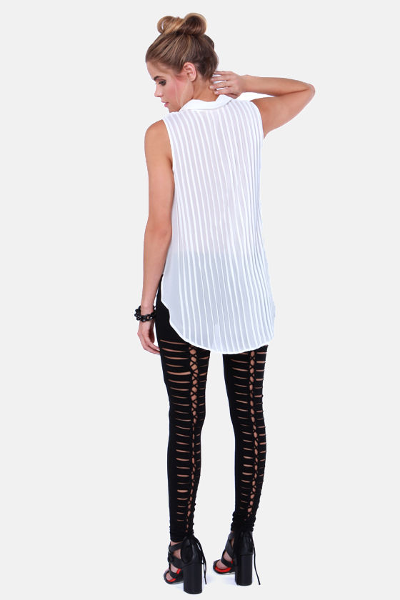 Tripp NYC Skin and Bones Lace-Up Black Leggings at Lulus.com!