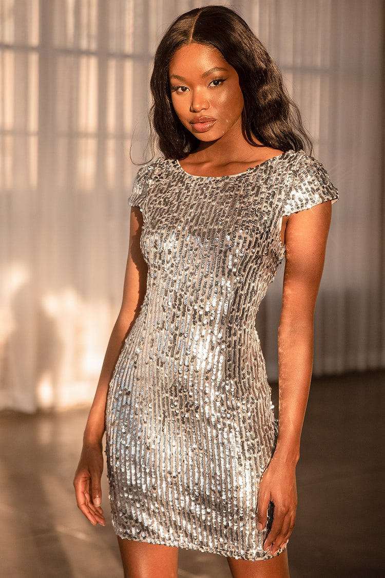 Star Appeal Silver Sequin Bodycon Mini Dress