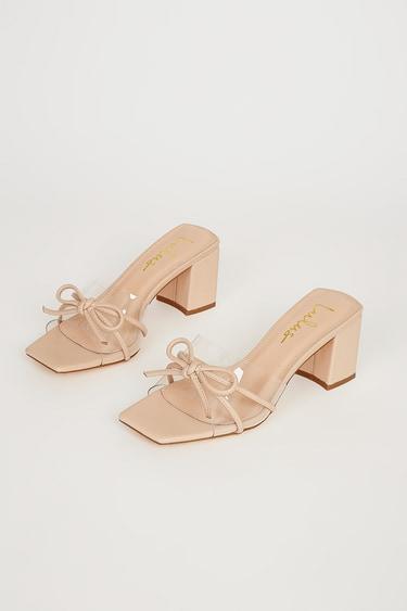 Yaez Light Nude Vinyl High Heel Sandals