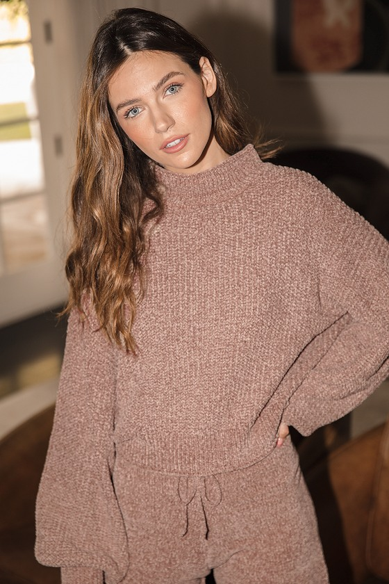 Lulus | Up the Comfort Taupe Chenille Knit Mock Neck Sweater | Size Large | 100% Polyester