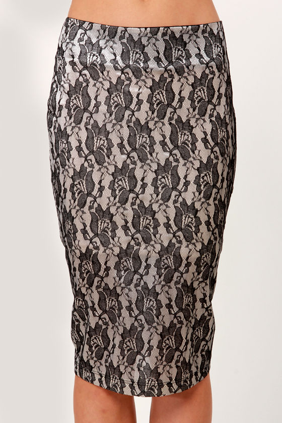She's a Lady Black Lace Pencil Skirt at Lulus.com!