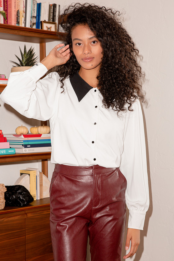 New Classic Black and White Button-Up Long Sleeve Top | Lulus