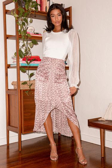 Step Into the Wild Pink Multi Snake Print Midi Skirt