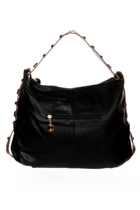 All the Extras Studded Black Handbag at Lulus.com!