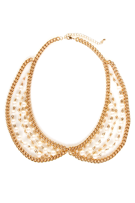 Pearl-igig Gold Pearl Collar Necklace