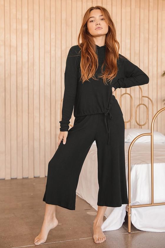 Coming Home Black Wide-Leg Lounge Pants | Lulus