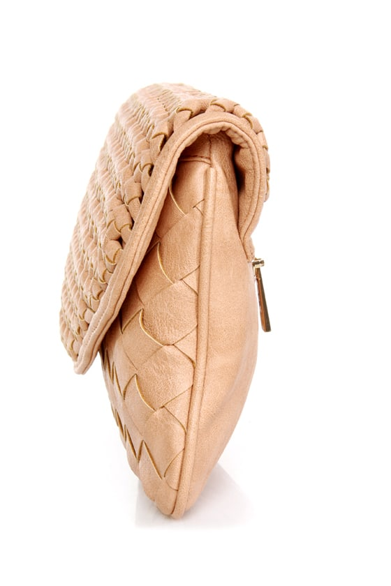 Lattice Harvest Beige Basket-weave Clutch