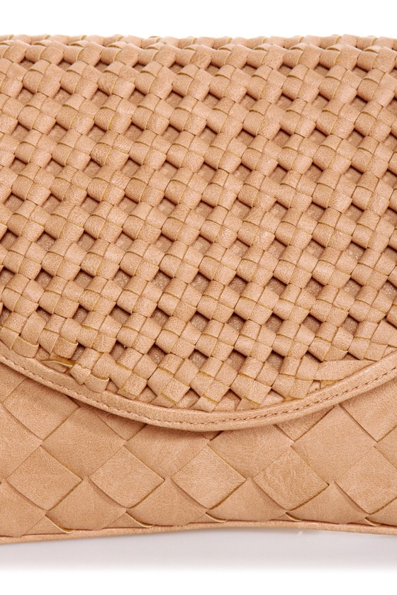 Lattice Harvest Beige Basket-weave Clutch