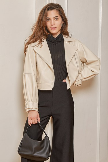Cool to the Core Ivory Vegan Leather Moto Jacket