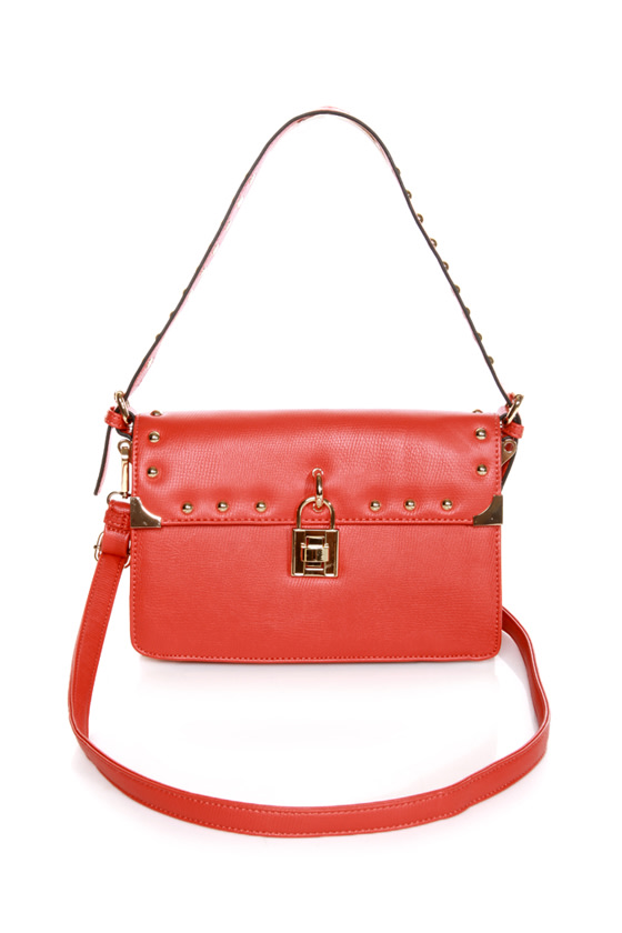 Melie Bianco Maggie Studded Orange Purse at Lulus.com!