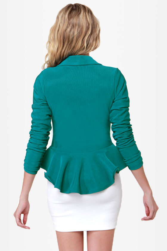 Pomp It Up Teal Blazer at Lulus.com!