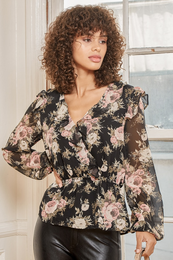 Lulus | Where You Bloom Black Floral Print Ruffled Long Sleeve Top | Size Medium | 100% Polyester