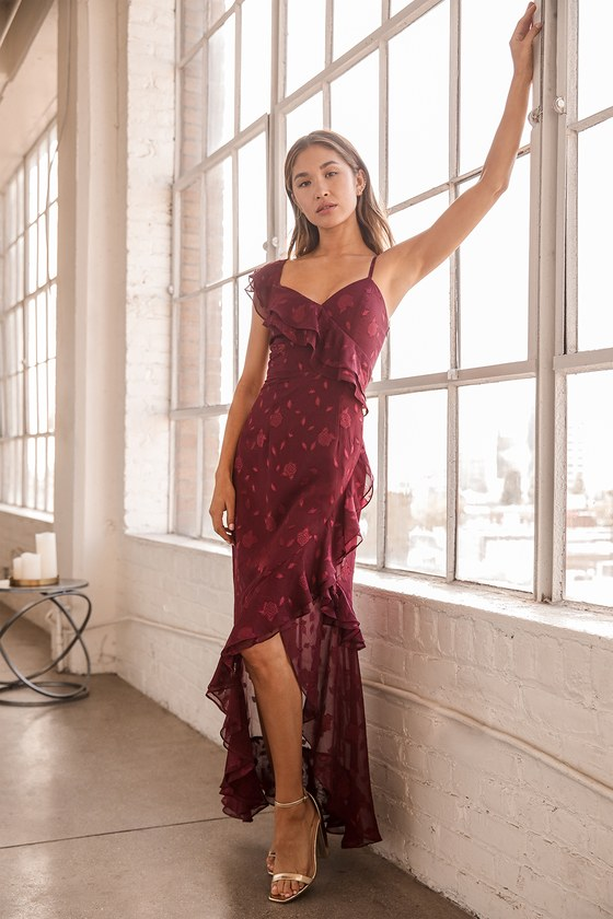 Forever Be Burgundy Floral Jacquard Ruffled Maxi Dress