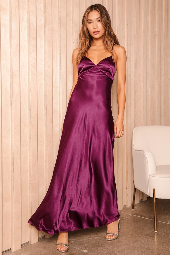 One Last Glance Plum Purple Satin Lace-Up Maxi Dress | Lulus