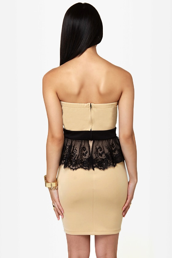 Round of Applause Strapless Beige Dress