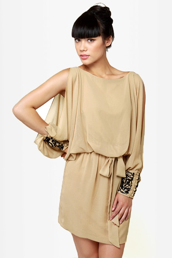 Dazzling Dame Beaded Beige Dress at Lulus.com!