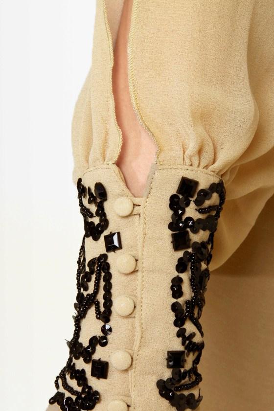 Dazzling Dame Beaded Beige Dress