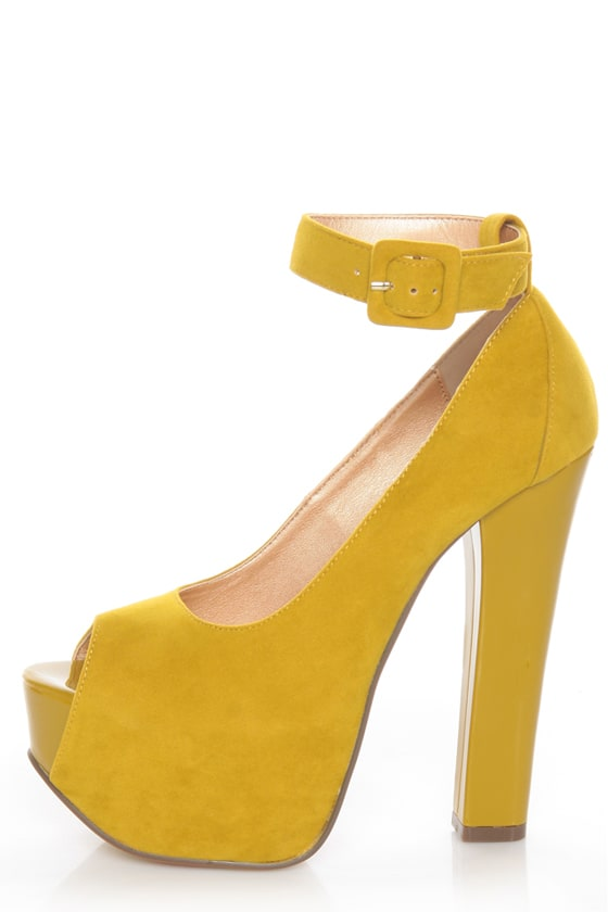 Luichiny More of It Yellow Peep Toe Platform Heels - $87.00