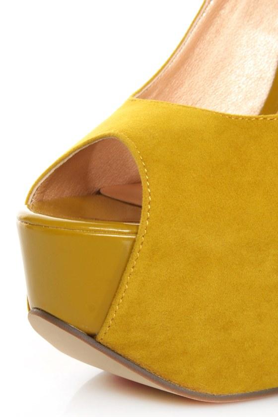 Luichiny More of It Yellow Peep Toe Platform Heels