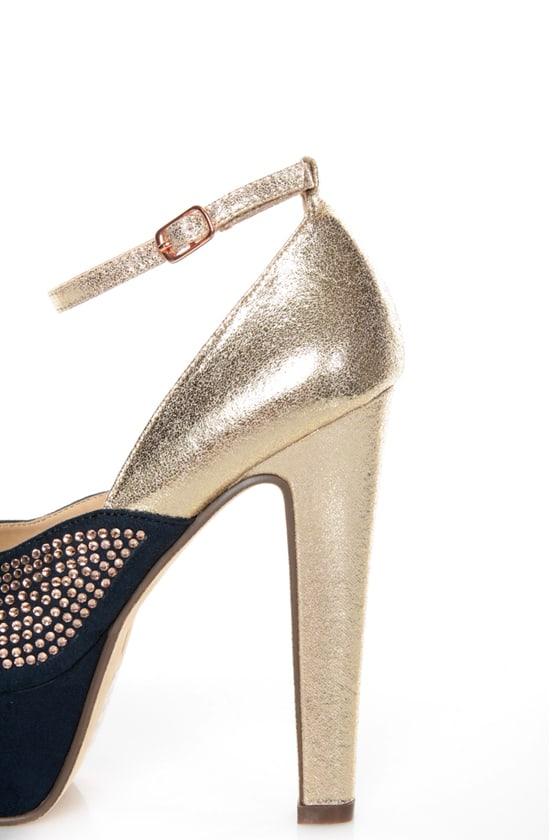 Michael Antonio Rowland Rose Gold Rhinestone Platform Heels