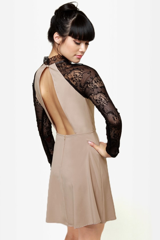 Strike of Midnight Beige Lace Dress