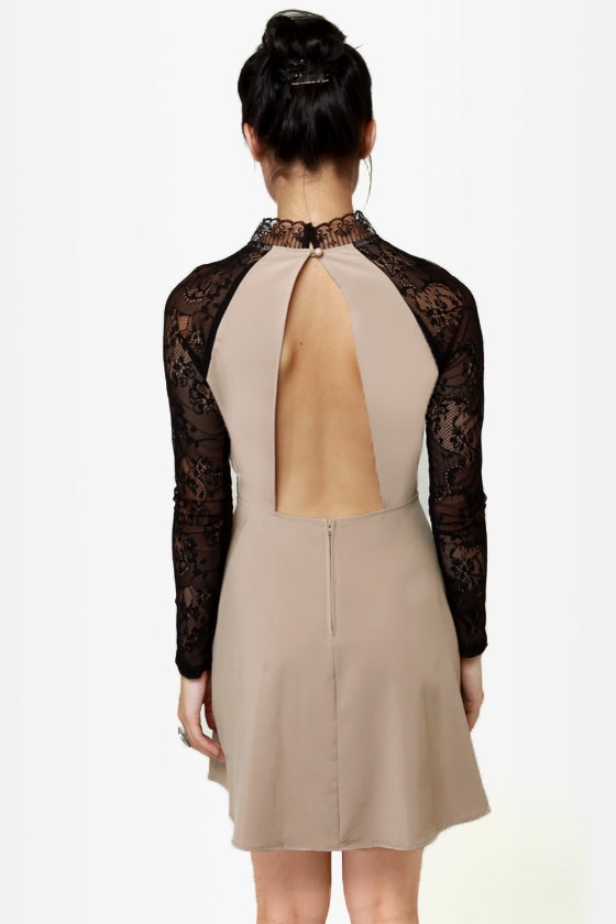 Strike of Midnight Beige Lace Dress at Lulus.com!