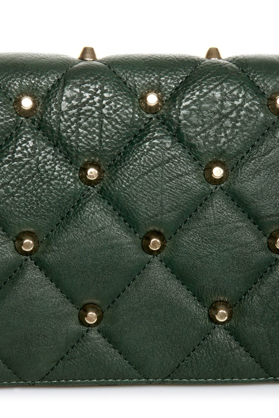 Point Sized Studded Green Purse