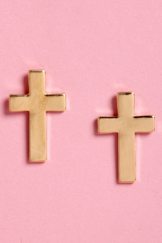 Holy Moly Gold Cross Earrings at Lulus.com!