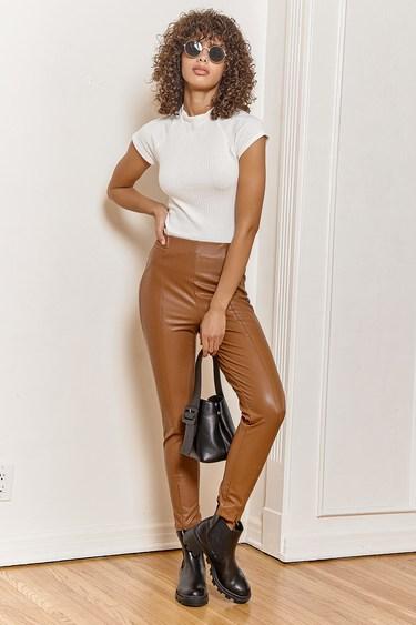 Way Too Cool Brown Vegan Leather Zip Hem Leggings