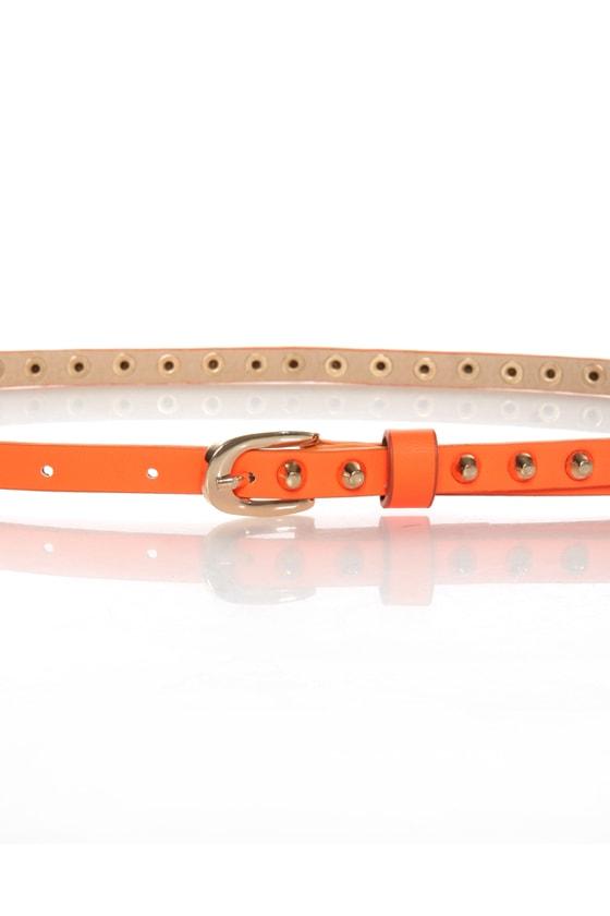 Danger Danger Studded Skinny Neon Orange Belt