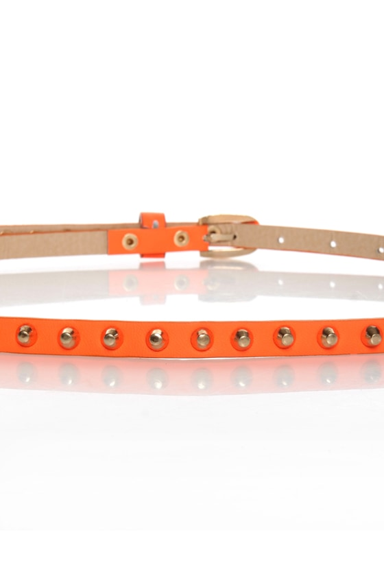 Danger Danger Studded Skinny Neon Orange Belt