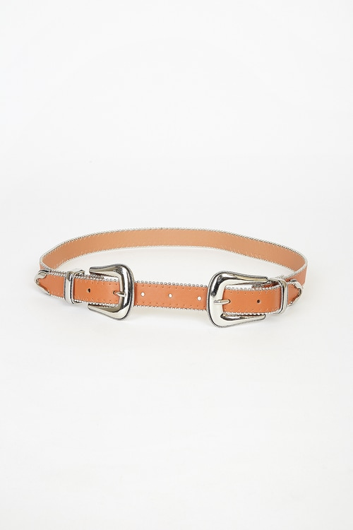 All the Glory Brown and Silver Double Buckle Belt