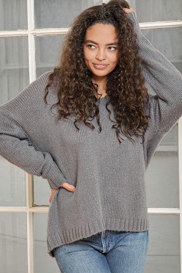 Toasty Type Blue Grey Oversized V-Neck Pullover Sweater