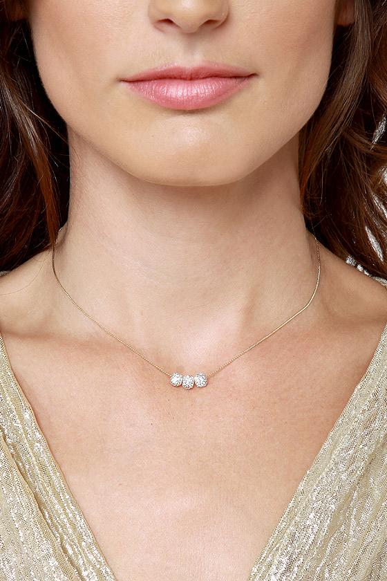 Girl's Best Friend Gold Rhinestone Necklace